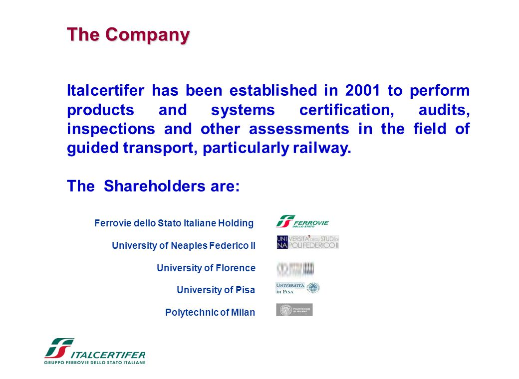 Italcertifer has been established in 2001 to perform products and systems certification, audits, inspections and other assessments in the field of gui