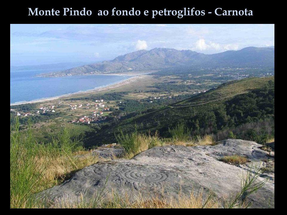 Monte Pindo ao fondo e petroglifos - Carnota