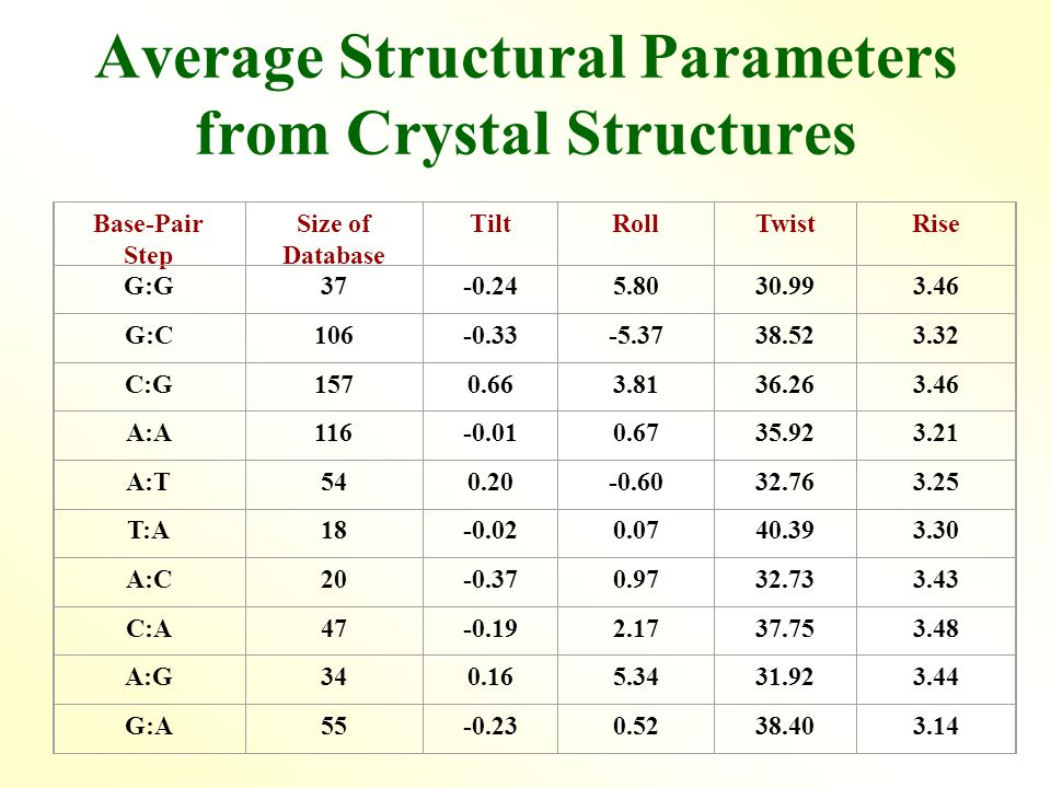 Average Structural Parameters from Crystal Structures Base-Pair Step Size of Database TiltRollTwistRise G:G37-0.245.8030.993.46 G:C106-0.33-5.3738.523.32 C:G1570.663.8136.263.46 A:A116-0.010.6735.923.21 A:T540.20-0.6032.763.25 T:A18-0.020.0740.393.30 A:C20-0.370.9732.733.43 C:A47-0.192.1737.753.48 A:G340.165.3431.923.44 G:A55-0.230.5238.403.14