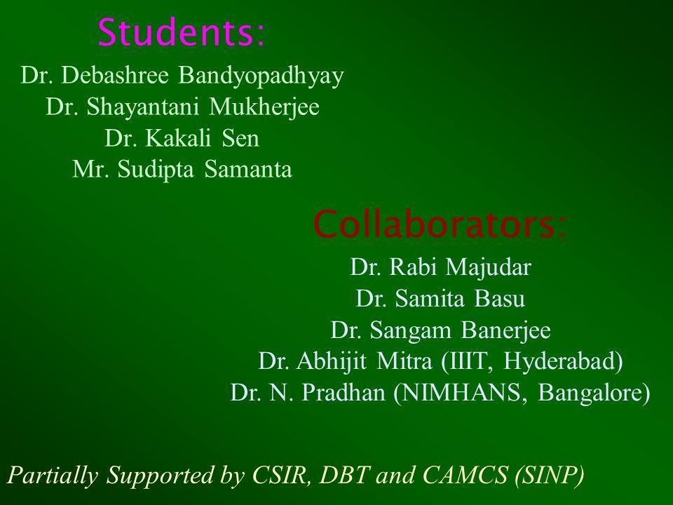 Students: Dr. Debashree Bandyopadhyay Dr. Shayantani Mukherjee Dr.