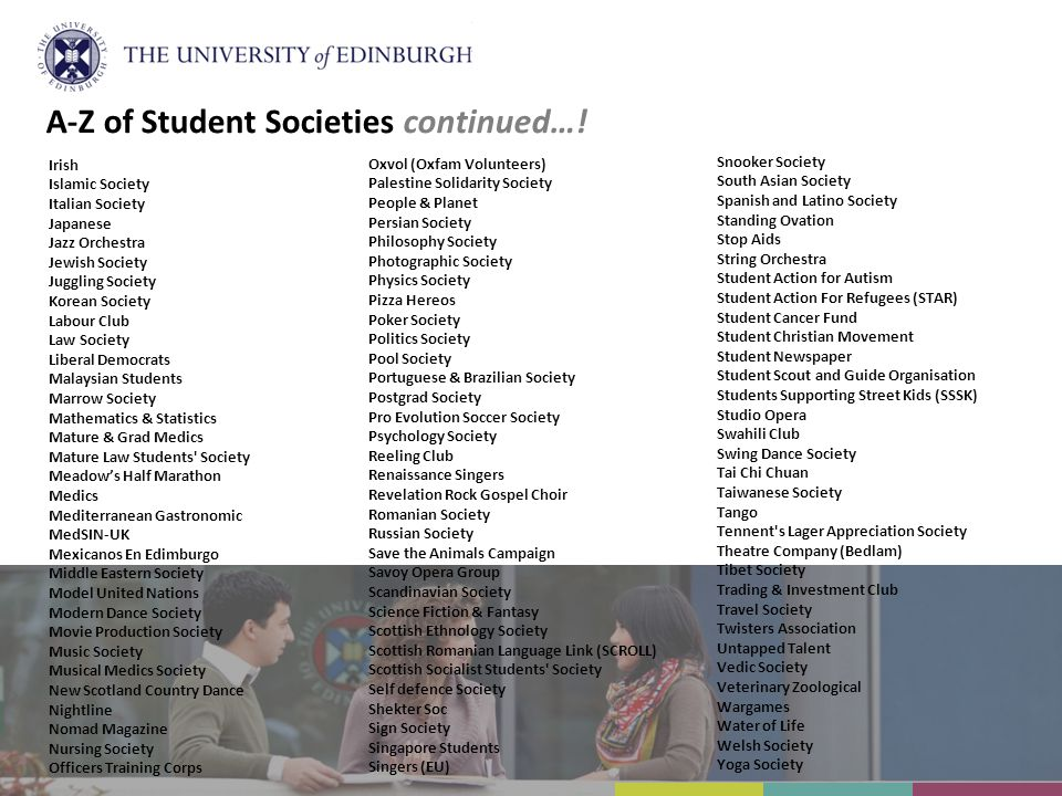 A-Z of Student Societies continued….