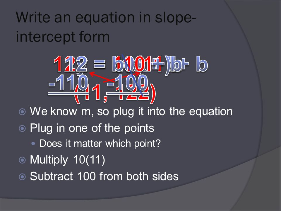 Write an equation in slope- intercept form  We know m, so plug it into the equation  Plug in one of the points Does it matter which point.