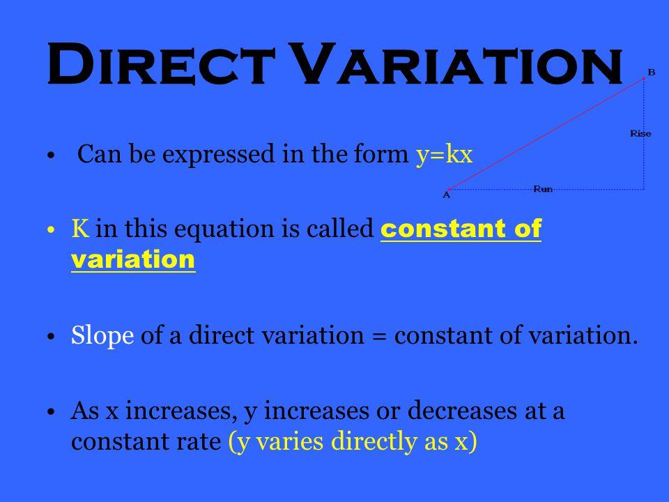 1) Direct Variation 2) Joint Variation 3) Inverse Variation