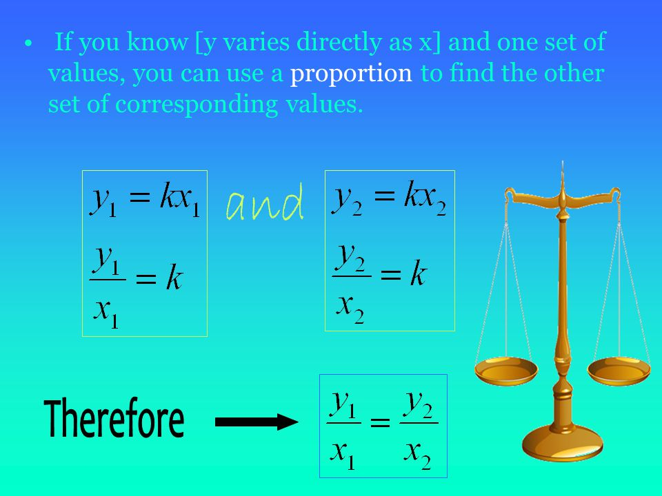 Direct Variation Can be expressed in the form y=kx K in this equation is called constant of variation Slope of a direct variation = constant of variation.