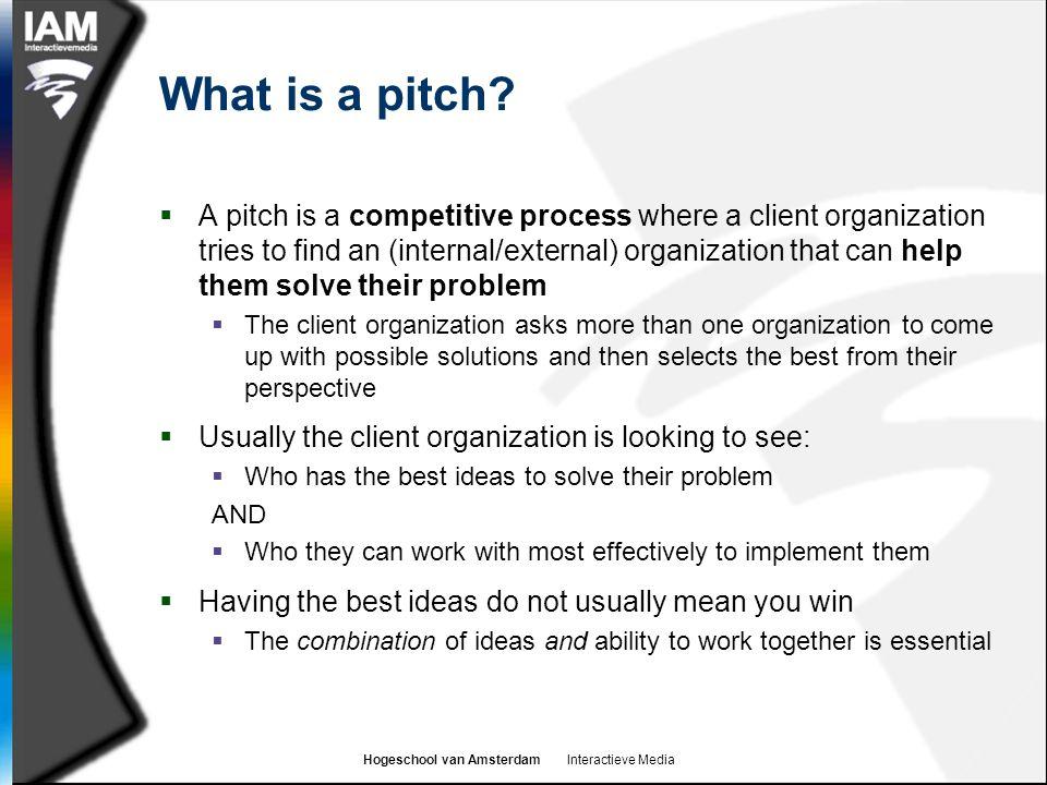 Hogeschool van Amsterdam Interactieve Media Why use a pitch?