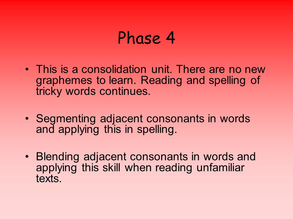 Phase 4 This is a consolidation unit. There are no new graphemes to learn.