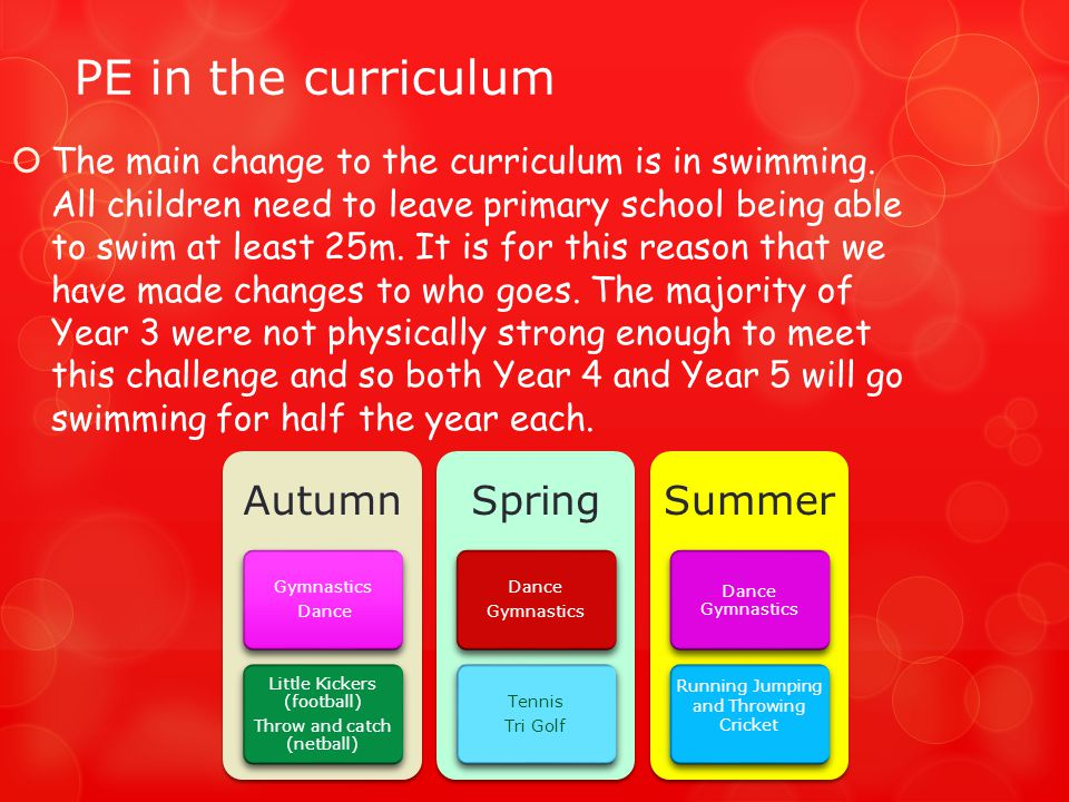 PE in the curriculum  The main change to the curriculum is in swimming.