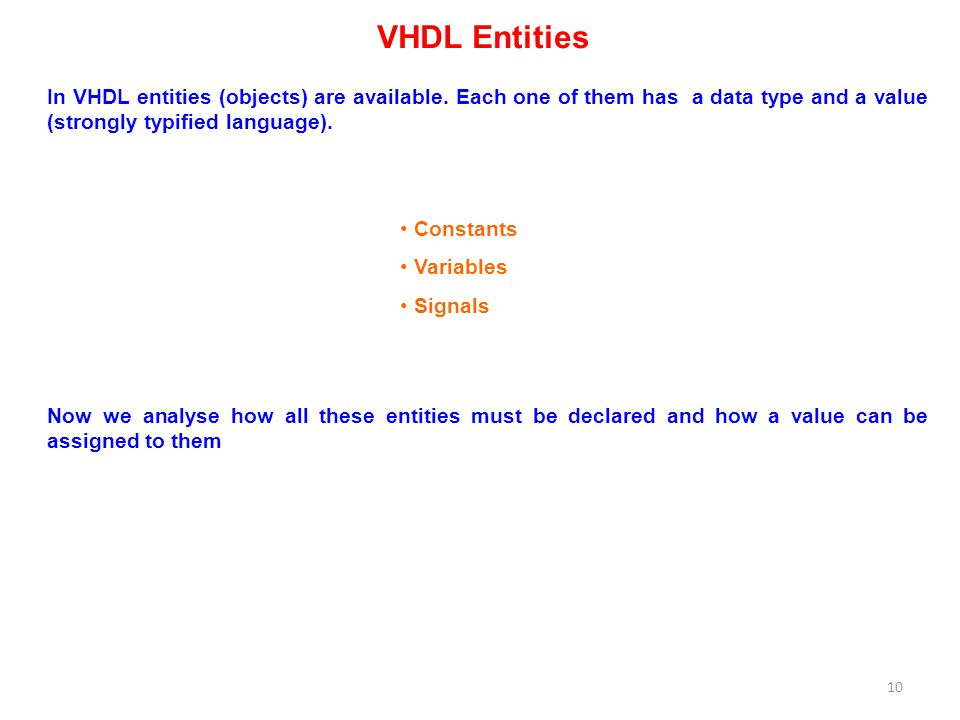 VHDL Entities Constants Variables Signals In VHDL entities (objects) are available.