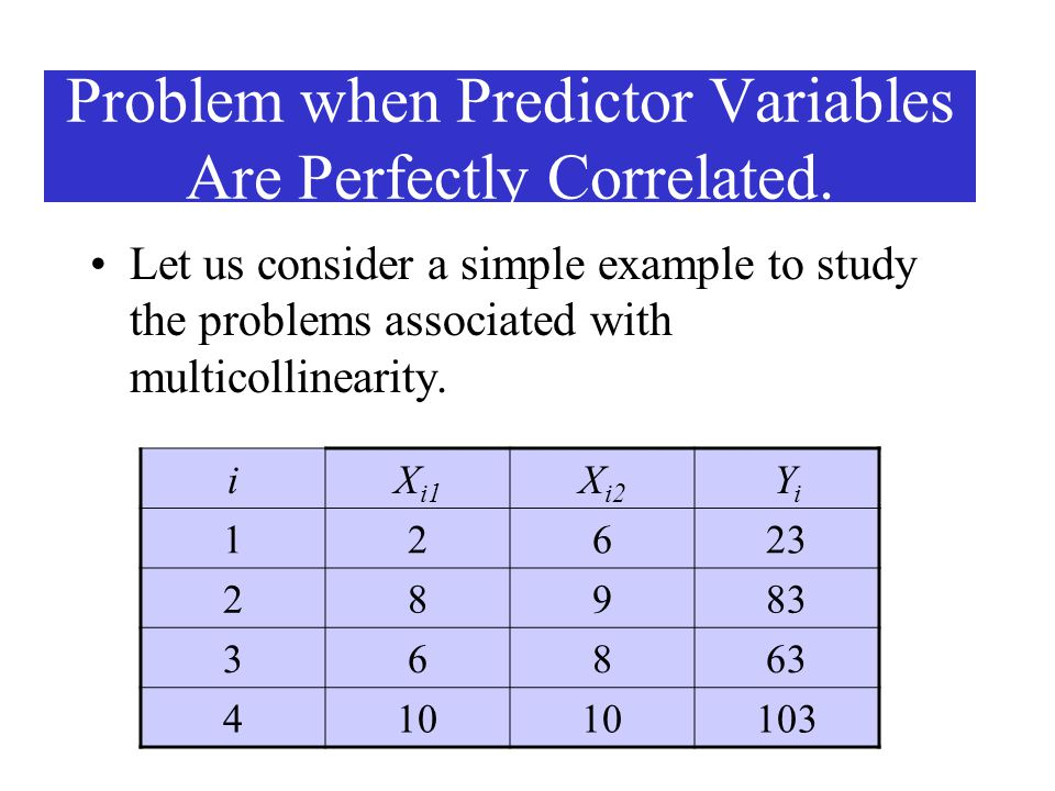 Problem when Predictor Variables Are Perfectly Correlated. Let us consider a simple example to study the problems associated with multicollinearity. i