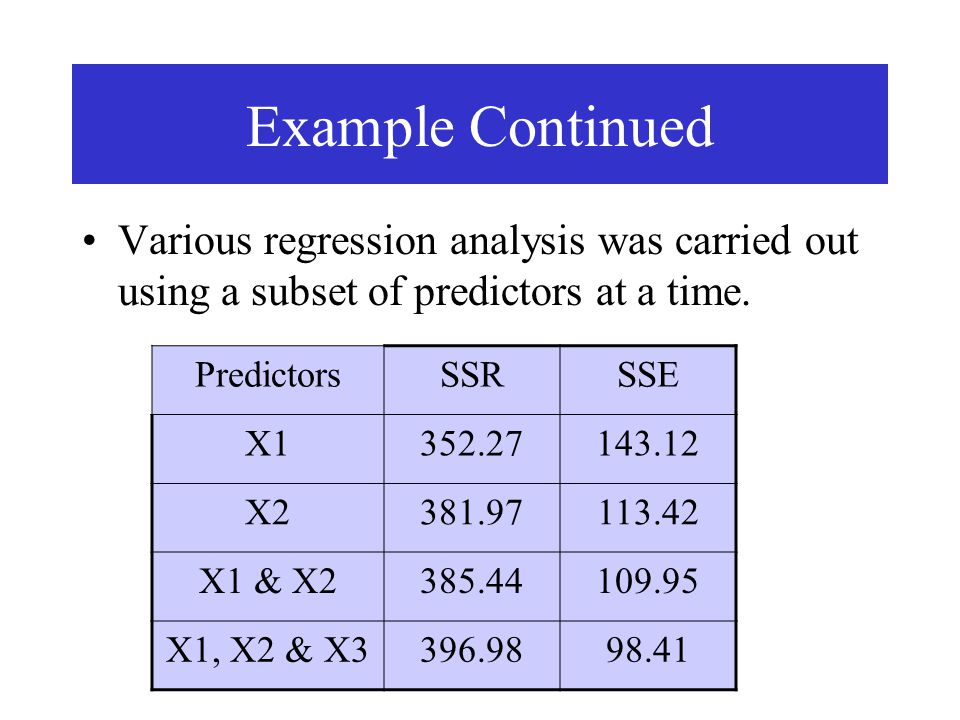 Example Continued Various regression analysis was carried out using a subset of predictors at a time. PredictorsSSRSSE X1352.27143.12 X2381.97113.42 X
