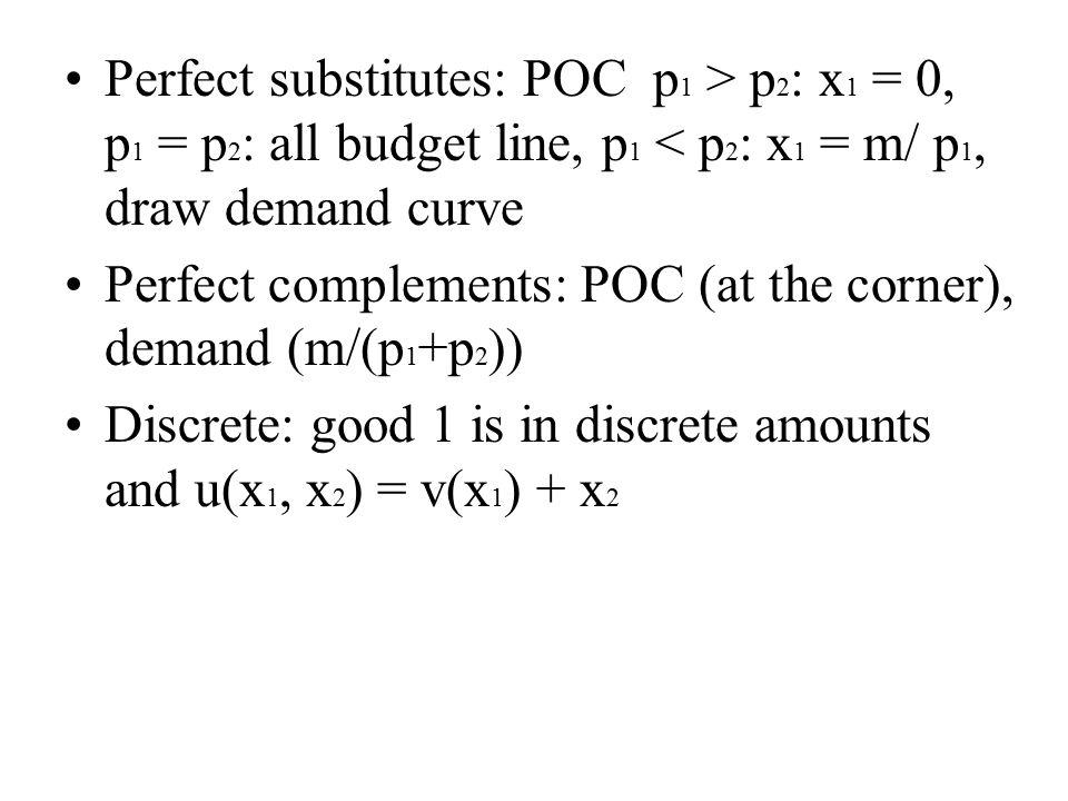 Perfect substitutes: POC p 1 > p 2 : x 1 = 0, p 1 = p 2 : all budget line, p 1 < p 2 : x 1 = m/ p 1, draw demand curve Perfect complements: POC (at the corner), demand (m/(p 1 +p 2 )) Discrete: good 1 is in discrete amounts and u(x 1, x 2 ) = v(x 1 ) + x 2