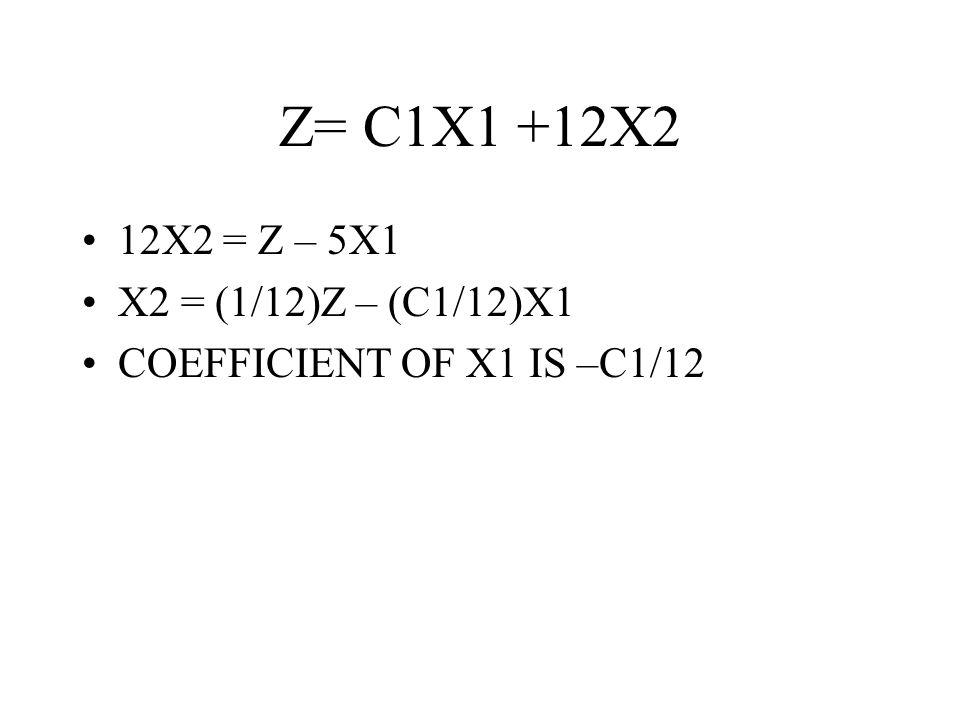 Z= C1X1 +12X2 12X2 = Z – 5X1 X2 = (1/12)Z – (C1/12)X1 COEFFICIENT OF X1 IS –C1/12