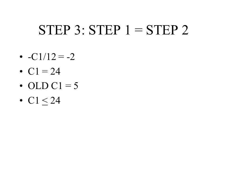 STEP 3: STEP 1 = STEP 2 -C1/12 = -2 C1 = 24 OLD C1 = 5 C1 < 24