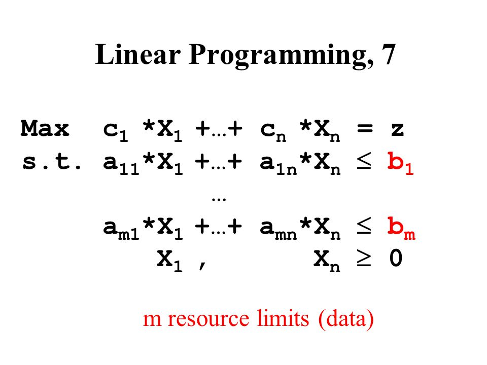 Arithmetic Problem, 1 Number of unknown variables: n+m Number of equations (constraints): m  Can only solve m equations for m unknown variables