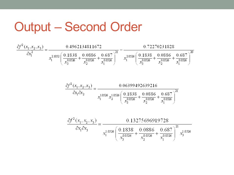 Output – Second Order