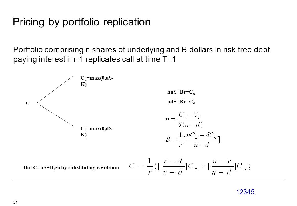 12345 21 Pricing by portfolio replication Portfolio comprising n shares of underlying and B dollars in risk free debt paying interest i=r-1 replicates