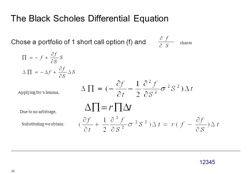 12345 28 The Black Scholes Differential Equation Chose a portfolio of 1 short call option (f) and shares Applying Ito's lemma, Due to no arbitrage, Substituting we obtain: