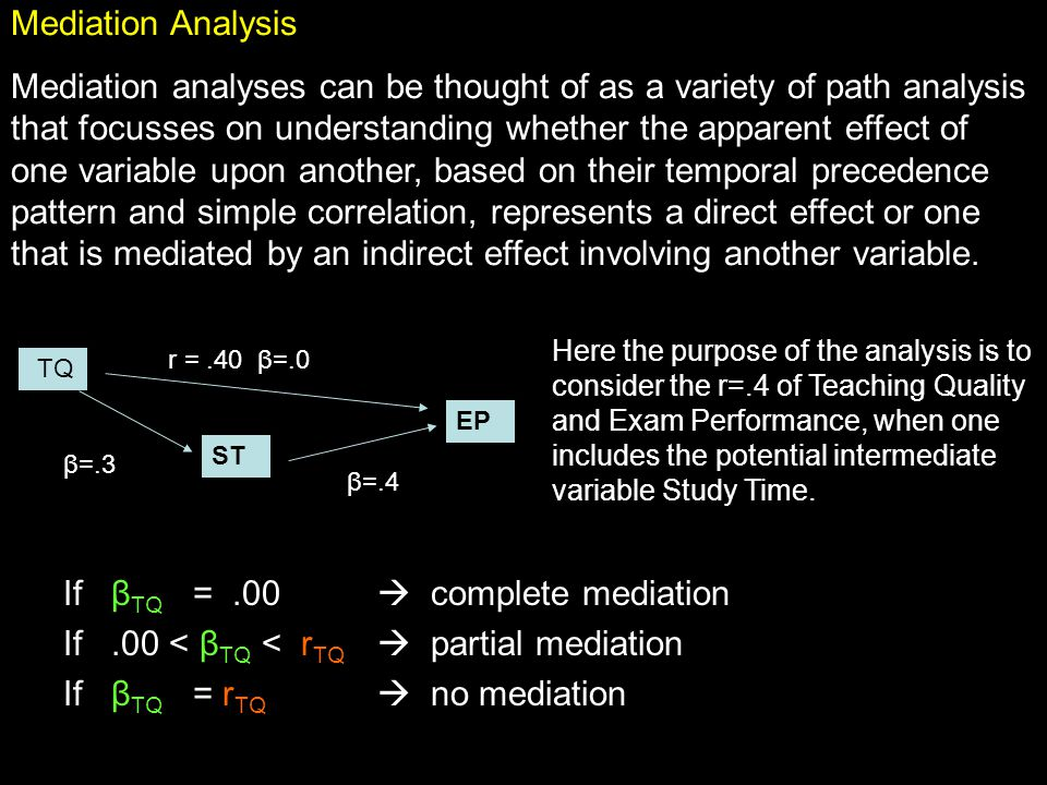 TQ EP r =.40 β=.0 ST β=.4 β=.3 Mediation Analysis Mediation analyses can be thought of as a variety of path analysis that focusses on understanding whether the apparent effect of one variable upon another, based on their temporal precedence pattern and simple correlation, represents a direct effect or one that is mediated by an indirect effect involving another variable.