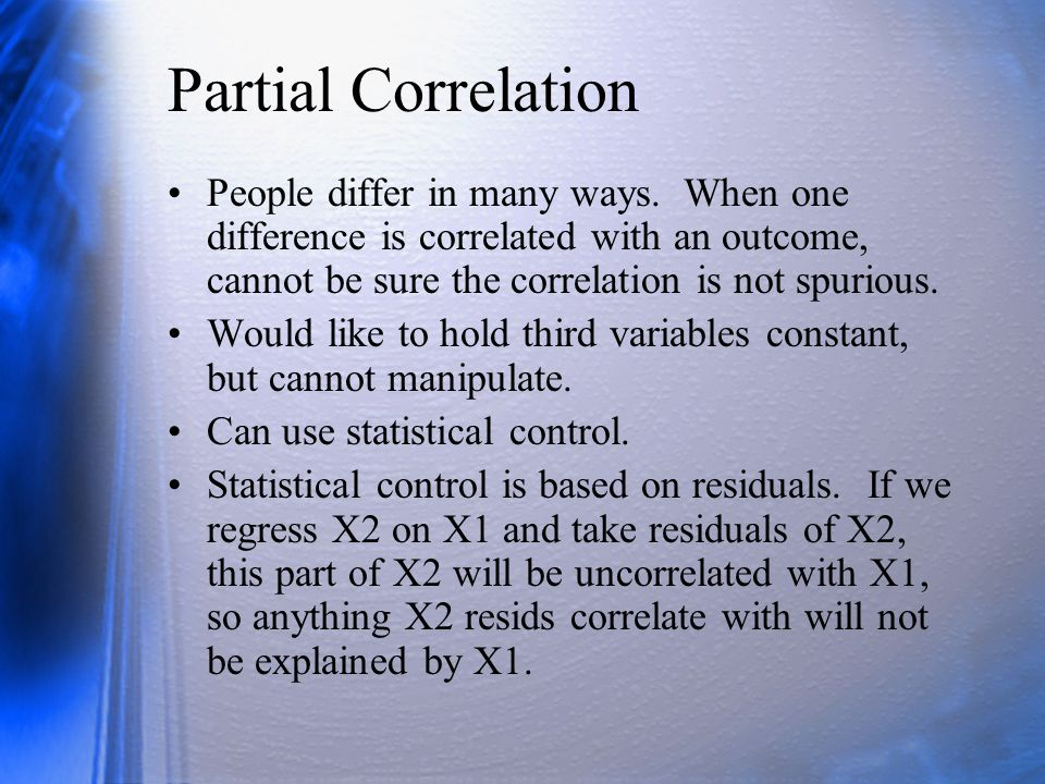Semipartials from Correlations Partial: Semipartial: Note that r 1(2.3) means the semipartial correlation between variables 1 and 2 where 3 is partialled only from 2.