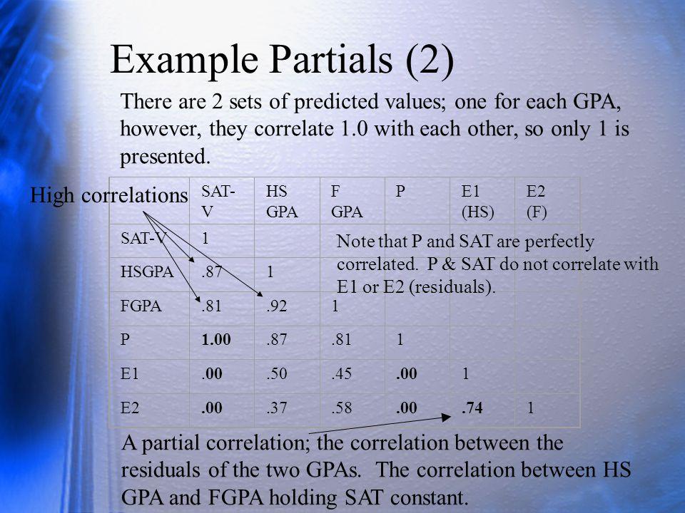 Example Partials (2) SAT- V HS GPA F GPA PE1 (HS) E2 (F) SAT-V1 HSGPA.871 FGPA.81.921 P1.00.87.811 E1.00.50.45.001 E2.00.37.58.00.741 There are 2 sets