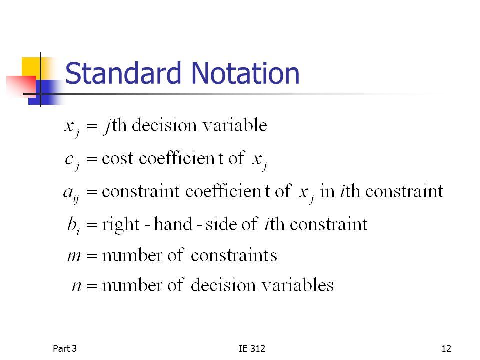 Part 3IE 31212 Standard Notation