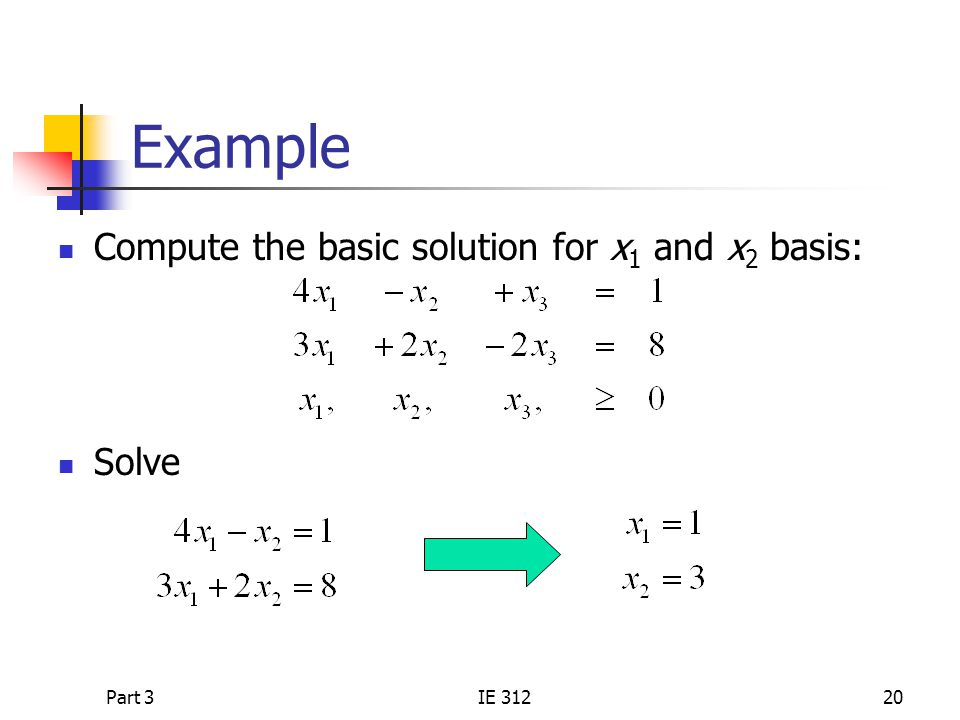 Part 3IE 31220 Example Compute the basic solution for x 1 and x 2 basis: Solve