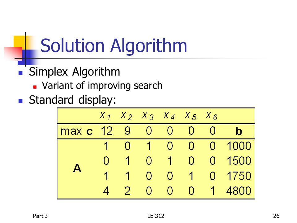Part 3IE 31226 Solution Algorithm Simplex Algorithm Variant of improving search Standard display: