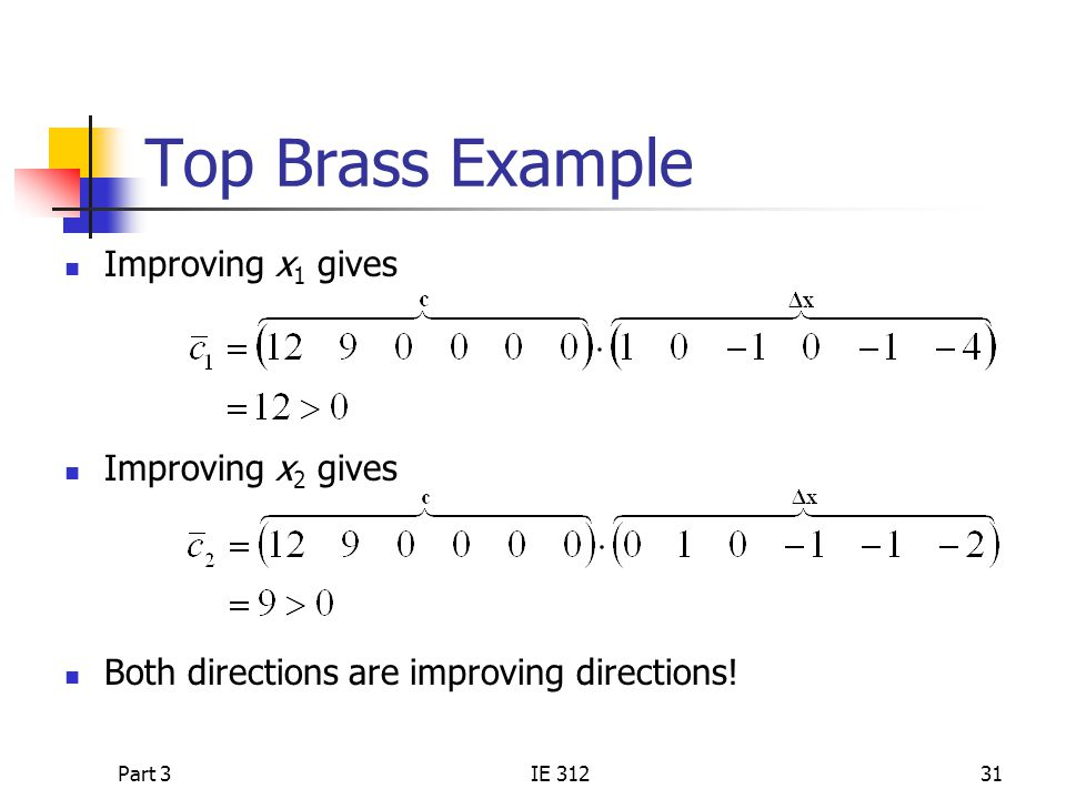 Part 3IE 31231 Top Brass Example Improving x 1 gives Improving x 2 gives Both directions are improving directions!