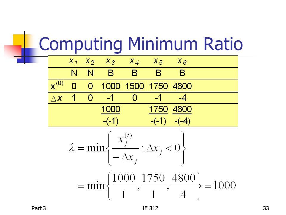 Part 3IE 31233 Computing Minimum Ratio