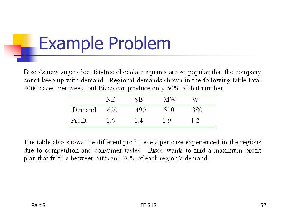 Part 3IE 31252 Example Problem