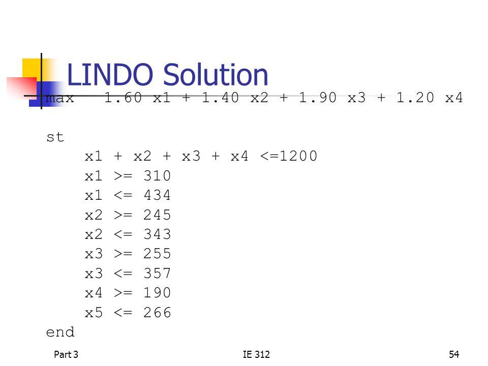 Part 3IE 31254 LINDO Solution max 1.60 x1 + 1.40 x2 + 1.90 x3 + 1.20 x4 st x1 + x2 + x3 + x4 <=1200 x1 >= 310 x1 <= 434 x2 >= 245 x2 <= 343 x3 >= 255 x3 <= 357 x4 >= 190 x5 <= 266 end