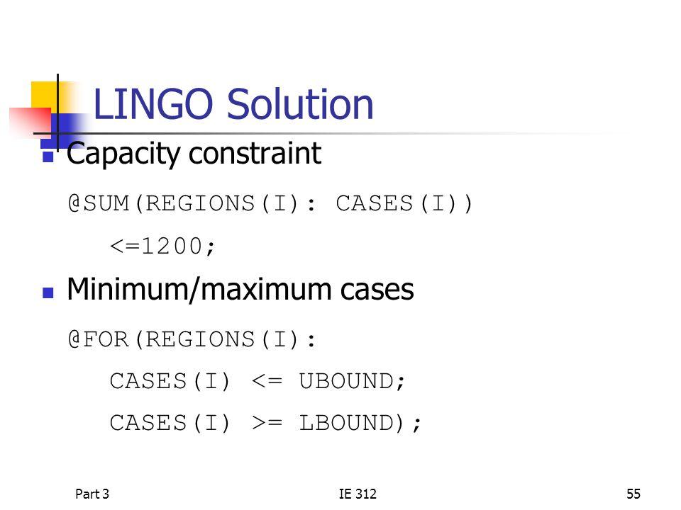 Part 3IE 31255 LINGO Solution Capacity constraint @SUM(REGIONS(I): CASES(I)) <=1200; Minimum/maximum cases @FOR(REGIONS(I): CASES(I) <= UBOUND; CASES(I) >= LBOUND);