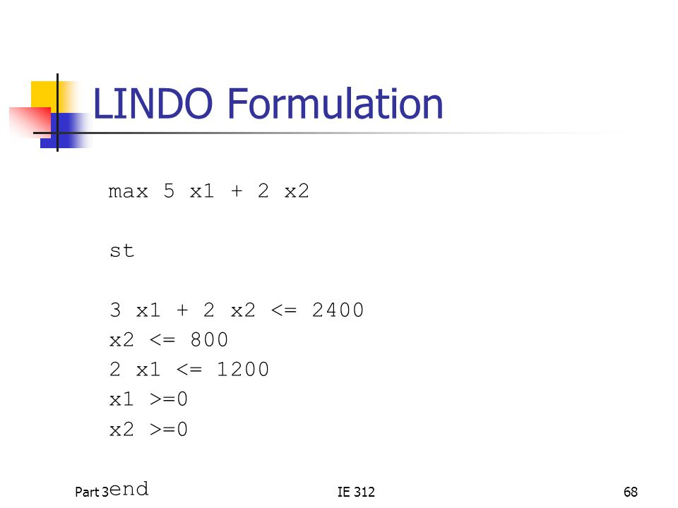 Part 3IE 31268 LINDO Formulation max 5 x1 + 2 x2 st 3 x1 + 2 x2 <= 2400 x2 <= 800 2 x1 <= 1200 x1 >=0 x2 >=0 end