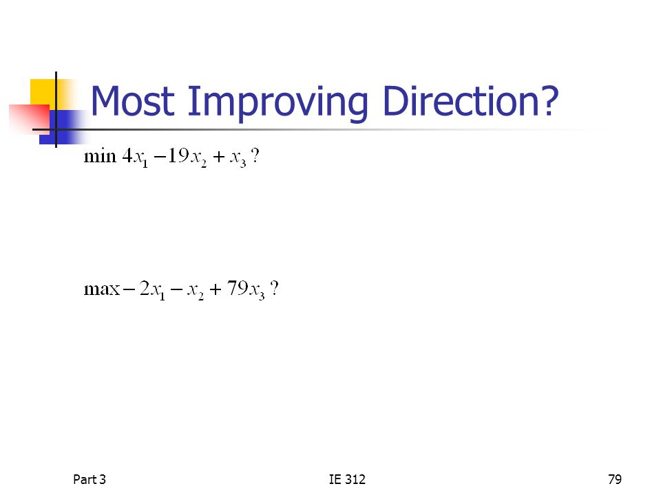 Part 3IE 31279 Most Improving Direction?