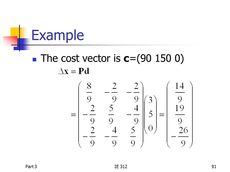 Part 3IE 31291 Example The cost vector is c=(90 150 0)