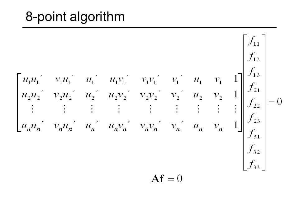 Normalized 8-point algorithm A = [x2(1,:)'.*x1(1,:) x2(1,:) .*x1(2,:) x2(1,:) ...