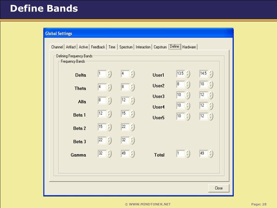 © WWW.MINDTUNER.NET Page: 28 Define Bands