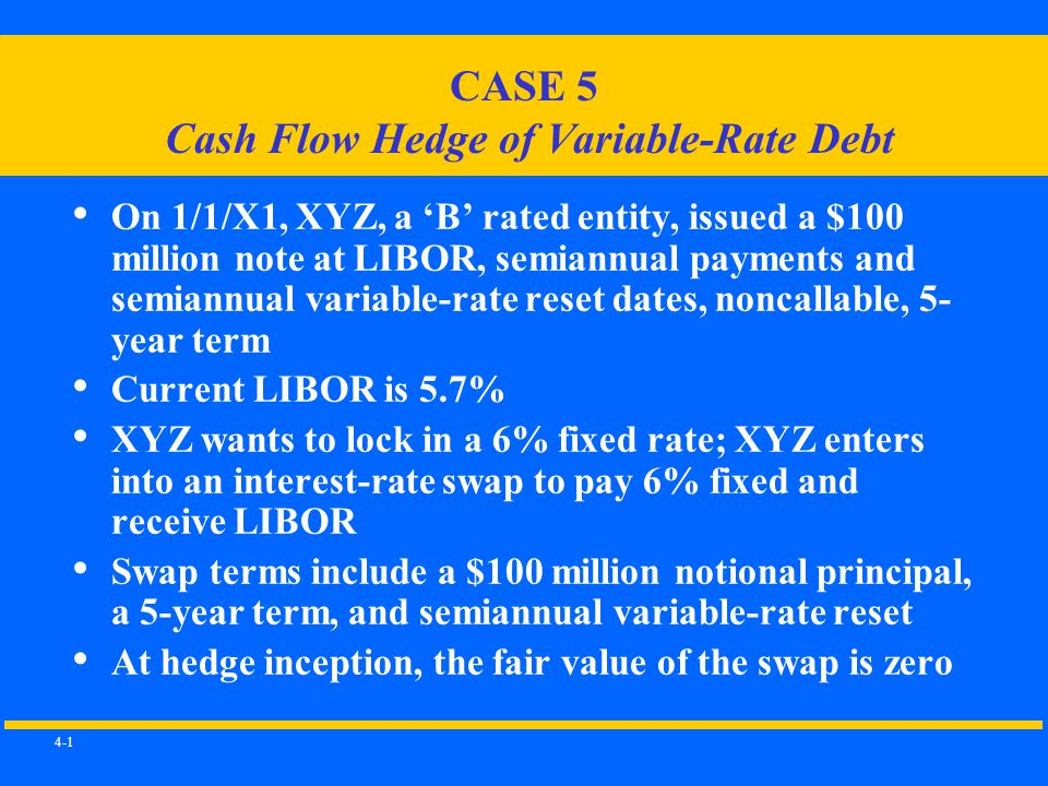 4-1 CASE 5 Cash Flow Hedge of Variable-Rate Debt On 1/1/X1, XYZ, a 'B' rated entity, issued a $100 million note at LIBOR, semiannual payments and semiannual variable-rate reset dates, noncallable, 5- year term Current LIBOR is 5.7% XYZ wants to lock in a 6% fixed rate; XYZ enters into an interest-rate swap to pay 6% fixed and receive LIBOR Swap terms include a $100 million notional principal, a 5-year term, and semiannual variable-rate reset At hedge inception, the fair value of the swap is zero