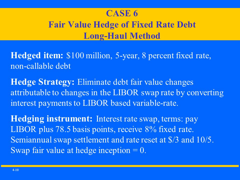4-10 CASE 6 Fair Value Hedge of Fixed Rate Debt Long-Haul Method Hedged item: $100 million, 5-year, 8 percent fixed rate, non-callable debt Hedge Strategy: Eliminate debt fair value changes attributable to changes in the LIBOR swap rate by converting interest payments to LIBOR based variable-rate.