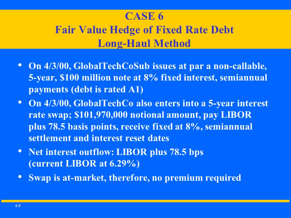 4-9 CASE 6 Fair Value Hedge of Fixed Rate Debt Long-Haul Method On 4/3/00, GlobalTechCoSub issues at par a non-callable, 5-year, $100 million note at 8% fixed interest, semiannual payments (debt is rated A1) On 4/3/00, GlobalTechCo also enters into a 5-year interest rate swap; $101,970,000 notional amount, pay LIBOR plus 78.5 basis points, receive fixed at 8%, semiannual settlement and interest reset dates Net interest outflow: LIBOR plus 78.5 bps (current LIBOR at 6.29%) Swap is at-market, therefore, no premium required
