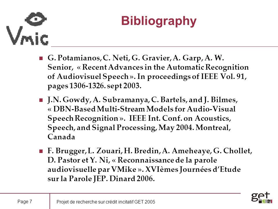 Projet de recherche sur crédit incitatif GET 2005 Page 7 Bibliography G. Potamianos, C. Neti, G. Gravier, A. Garp, A. W. Senior, « Recent Advances in