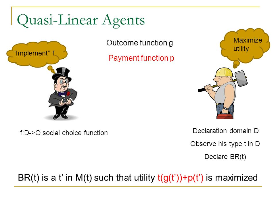 Quasi-Linear Agents Outcome function g Implement f Maximize utility f:D->O social choice function Declaration domain D Observe his type t in D Declare BR(t) BR(t) is a t' in M(t) such that utility t(g(t'))+p(t') is maximized Payment function p
