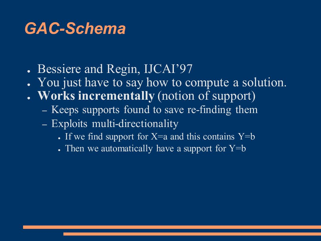 GAC-Schema ● Idea: tuple = solution of the constraint support = valid tuple - while the tuple remains: do nothing - if the tuple is no longer possible, then search for a new support for the values it contains ● a solution (support) can be computed by any algorithm