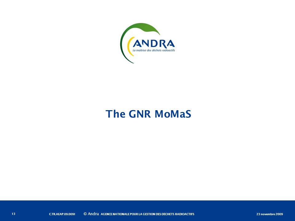 AGENCE NATIONALE POUR LA GESTION DES DÉCHETS RADIOACTIFS © Andra The GNR MoMaS 23 novembre 2009C.TR.AEAP.09.0091 13