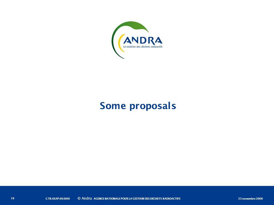 AGENCE NATIONALE POUR LA GESTION DES DÉCHETS RADIOACTIFS © Andra Some proposals 23 novembre 2009C.TR.AEAP.09.0091 19