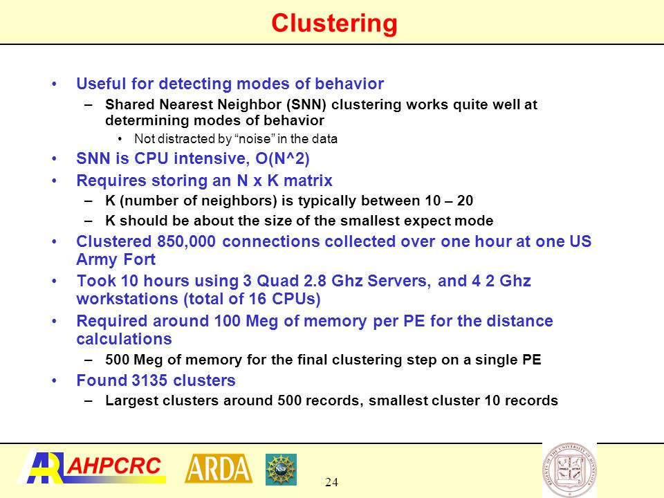 Detecting Large Modes of Network Traffic Using Clustering  Large clusters of VPN traffic (hundreds of connections)  Used between forts for secure sharing of data and working remotely