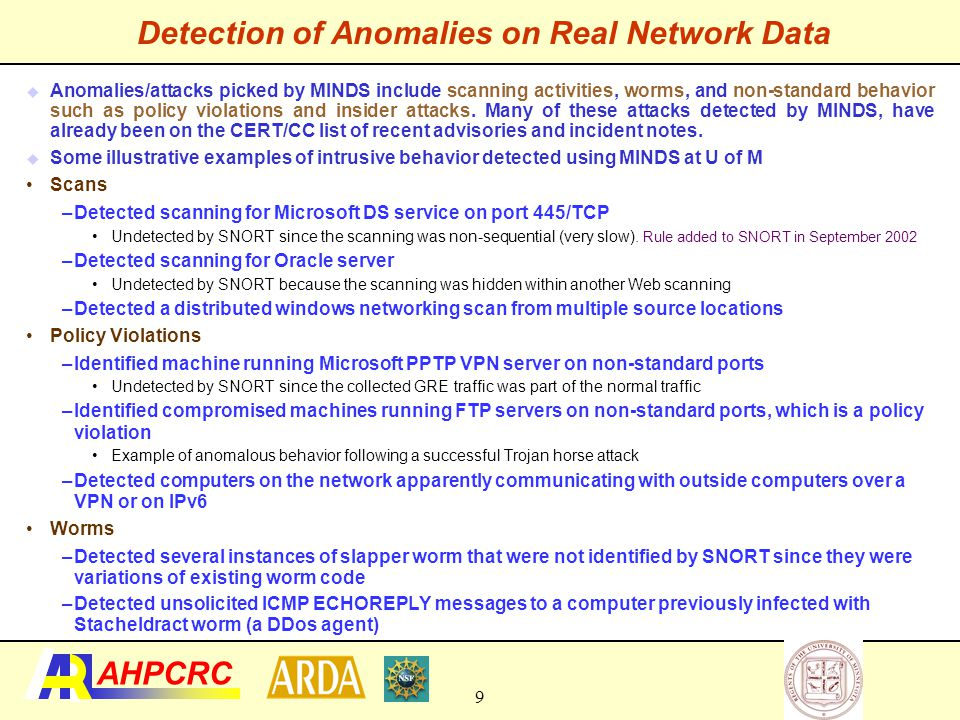 –January 26, 2003 (48 hours after the slammer worm) MINDSMINDS  Anomalous connections that correspond to the slammer worm  Anomalous connections that correspond to the ping scan  Connections corresponding to UM machines connecting to half-life game servers Typical Anomaly Detection Output