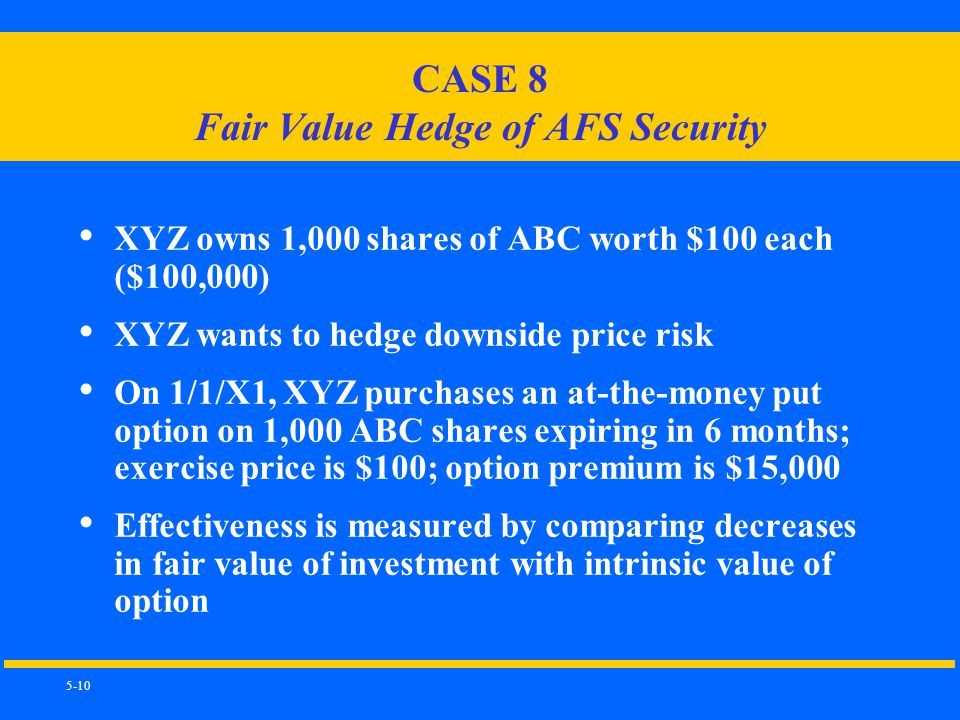 5-10 CASE 8 Fair Value Hedge of AFS Security XYZ owns 1,000 shares of ABC worth $100 each ($100,000) XYZ wants to hedge downside price risk On 1/1/X1, XYZ purchases an at-the-money put option on 1,000 ABC shares expiring in 6 months; exercise price is $100; option premium is $15,000 Effectiveness is measured by comparing decreases in fair value of investment with intrinsic value of option