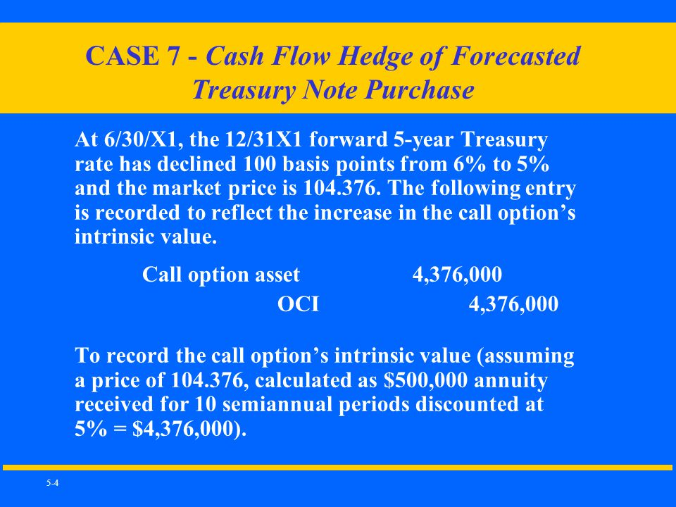 5-4 CASE 7 - Cash Flow Hedge of Forecasted Treasury Note Purchase At 6/30/X1, the 12/31X1 forward 5-year Treasury rate has declined 100 basis points from 6% to 5% and the market price is 104.376.