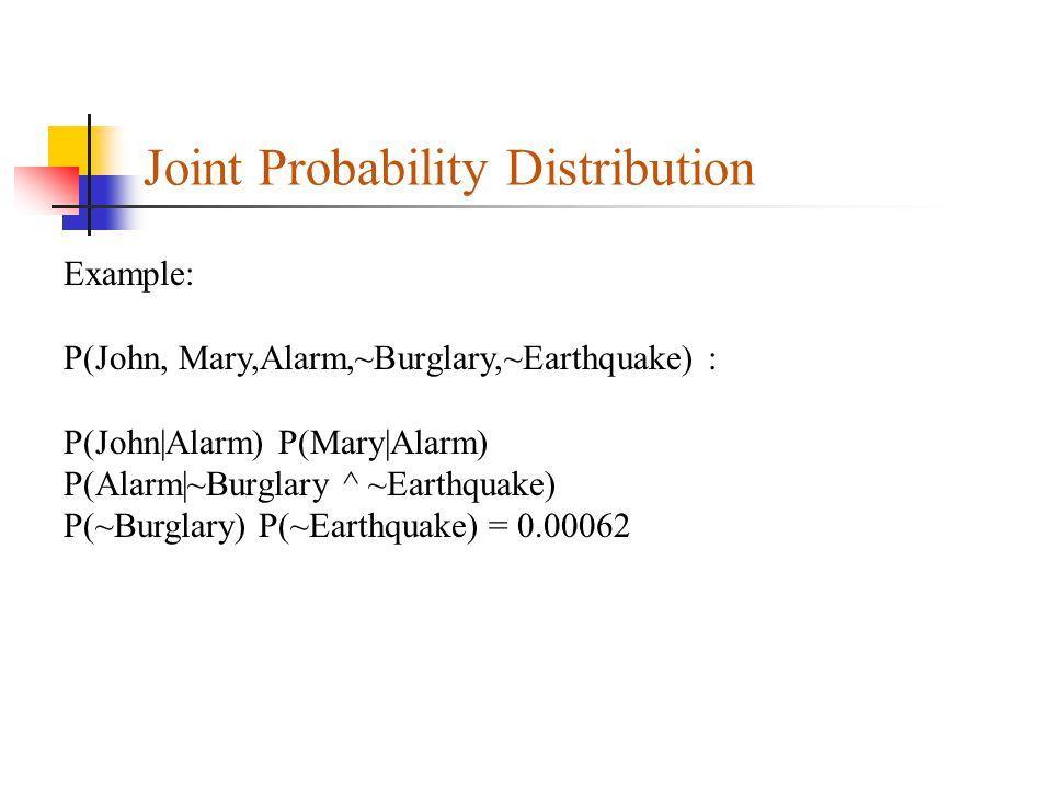 Joint Probability Distribution Example: P(John, Mary,Alarm,~Burglary,~Earthquake) : P(John|Alarm) P(Mary|Alarm) P(Alarm|~Burglary ^ ~Earthquake) P(~Bu